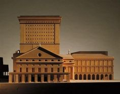 Wood model : Teatro Carlo Felice, Genoa Italy (1983-84) | Aldo Rossi Architecture Drawings, Contemporary Architecture, Aldo Rossi, Genoa Italy, Arch Model, Renzo Piano, Adaptive Reuse, Famous Architects, Exhibition