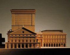 Wood model : Teatro Carlo Felice, Genoa Italy (1983-84) | Aldo Rossi Architecture Drawings, Contemporary Architecture, Aldo Rossi, Genoa Italy, Building Drawing, Arch Model, Renzo Piano, Famous Architects, Exhibition