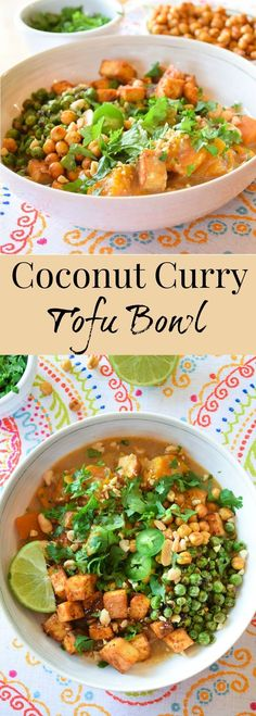 Coconut Curry Tofu Bowl is a vegetarian meal that brings pleasure to all of your senses! Crispy, creamy comfort combined with a slightly sweet heat. A perfect meal to serve your family for that night when you want to make a meatless option.
