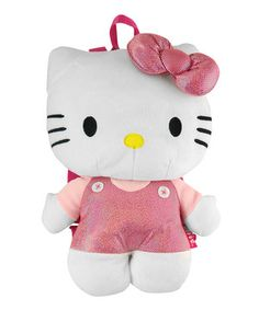 Look at this #zulilyfind! Light Pink Hello Kitty Pink Plush Backpack by Disney #zulilyfinds