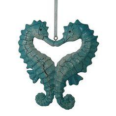 """Hope we """"sea"""" you feeling like """"horsing"""" around soon!  {{{{{hugs!}}}}}          Kissing Seahorses Heart Ornaments $5.95"""