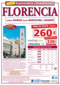 FLORENCIA, salidas del 24 de Septiembre al 31 de Octubre desde Mad y Bcn (3d/2n) precio final 330€ ultimo minuto - http://zocotours.com/florencia-salidas-del-24-de-septiembre-al-31-de-octubre-desde-mad-y-bcn-3d2n-precio-final-330e-ultimo-minuto/