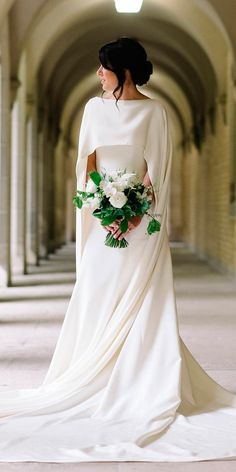 24 Awesome Simple Wedding Dresses For Cute Brides ❤ simple wedding dresses straight modern trendy with capes leaannbelter bridal ❤ Full gallery: https://weddingdressesguide.com/simple-wedding-dresses/ #bride #wedding #bridalgown
