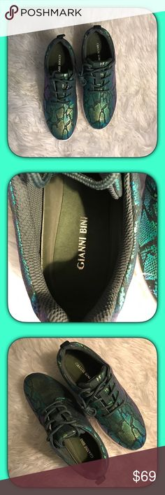 Gianni Bini Sneakers Make a statement with these Stylish Sneakers!! Multi-Colored iridescent of green/blue/purple mixture which makes them pop!! A must have Gianni Bini Shoes Sneakers