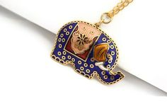 Necklace #Elephant #Pendant Jewelry Bright #Blue #Gold by Ahkriti, $18.00
