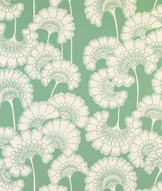 Japonese Floral in Sage on Crimsilk Slub