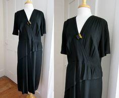 20s 30s Black Crepe Dress - Art Deco - Bakelie Button - Peplum - Side Zipper - V Neck - Short Sleeves by StateAndMainVintage on Etsy