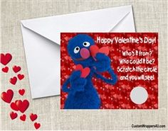 Sesame Street Valentine's Day Cards Grover Scratch off to reveal photo or name