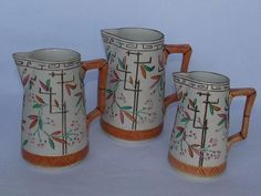 SET OF 3 ANTIQUE 1878 BROWNHILLS POTTERY MAJOLICA BAMBOO JAPANESE STYLE PITCHERS