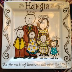 Personalized Square Plate by Take It Personal, LLC Painted Plates, Ceramic Plates, Pottery Painting, Painting On Wood, Painted Canvas, Hand Painted, Mother Gifts, Mothers, Drawing Classes