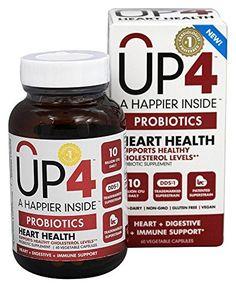 UP4  Heart Health Probiotics  60 Vegetable Capsules ** Visit the image link more details.