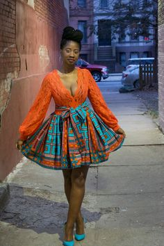 African dress Ankara dress African print Lace by BurgundybyPK