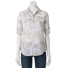 Croft & Barrow Floral Slubbed Roll-Tab Shirt - Women's