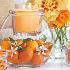 lighten up your kitchen with bright oranges inside our hand blown glass vase and candle holder. Add a bright orange GloLite candle by PartyLite to complete the warmth!