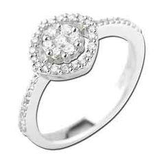 0.36 Carat Diamond 14K White Gold Women Rings 2.53g: Ring Size: 7 (Sizable)