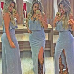 Vestido Fenda Longo com babado devine - Devine Moda Feminina