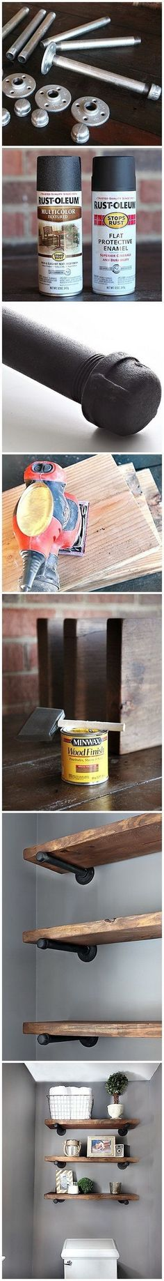 Plans of Woodworking Diy Projects - DIY Restoration Hardware - Inspired Shelving Get A Lifetime Of Project Ideas & Inspiration! Design Industrial, Industrial Furniture, Industrial Storage, Vintage Furniture, Plumbing Pipe Furniture, Industrial Lamps, Vintage Industrial, Diy Tumblr, Diy Holz