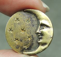 SM Brass Picture Button Man in The Moon Metal | eBay, $10.99