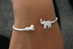 Sterling Silver Bracelet Elephant Jewelry by ulovejewelry on Etsy, $64.00