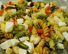 Grilled vegetables cold pasta, perfect picnic food!