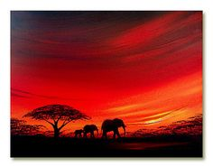 African sunset painting 'Elephant Sunset too' | by Sunset Contemporary Art by Shirley Shelton