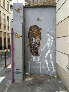 Art de la rue (street art), fresque, Jérôme Mesnager et Mosko et Associés, rue du Retrait, Paris 20e (75)