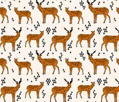 Geometric Deer - Champagne / Rust fabric by andrea_lauren on Spoonflower - custom fabric