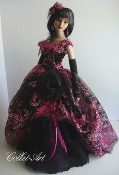 "https://flic.kr/p/si1uQM   Tonner 22"" American Model OOAK Fashion ""Dark Beauty"" Collet-Art"
