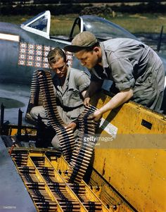 Two ordinance men load calibur cartridge belts into the wing of a Republic Thunderbolt fighter plane at an unspecified base in England, September The plane's pilot is Lieutenant. Get premium, high resolution news photos at Getty Images Ww2 Aircraft, Fighter Aircraft, Military Aircraft, Fighter Jets, Luftwaffe, Photo Avion, P 47 Thunderbolt, American Fighter, Ww2 Planes