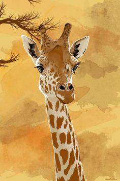 Giraffe Painting Print on Canvas