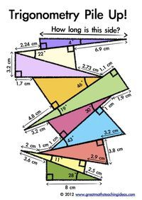 Trigonometry Pile Up! Fun activity for advanced students/extra credit: - Mathe Ideen 2020 Teaching Geometry, Geometry Activities, Teaching Math, Teaching Activities, Teaching Ideas, Math College, Math School, Math Teacher, Math Classroom