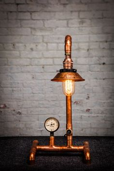 Industrial Copper Pipe Desk Lamp by OaklandLampCo on Etsy Pipe Lighting, Copper Lighting, Cool Lighting, Pipe Desk, Pipe Lamp, Lampe Industrial, Modern Industrial, Deco Luminaire, Copper Lamps