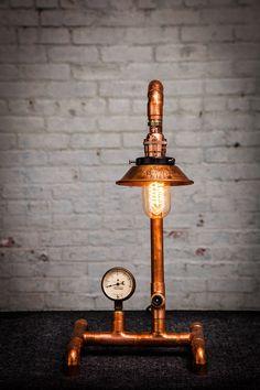 Lampe de bureau industrielle tuyauterie en cuivre par OaklandLampCo