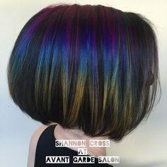 oil slick hair rainbow hair Gainesville color melt short hair undercut pink hair blue hair yellow hair teal hair urban shock vivids vivid