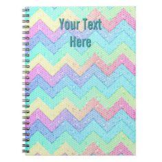 Pastel Chevron Mosaic Personalized Notebooks