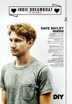 Dave Bayley of Glass Animals featured in DIY Magazine's Indie Dreamboat Of The Month