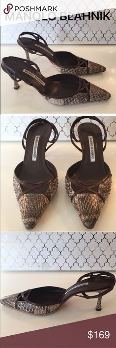 ⭐️MANOLO BLAHNIK SNAKE HEELS 💯AUTHENTIC MANOLO BLAHNIK SNAKE HEELS 💯AUTHENTIC. SO PRETTY AND STYLISH TOTALLY ON TREND! SUPER HIGH END LUXURY AND STYLE! THE ARE BROWN AND GRAY. THE SIZE IS 38.5 WHICH CONVERTS TO AN AMERICAN 8.5. THE HEEL HEIGHT IS 3 INCHES. MODEST WEAR. THEY HAVE BEEN RESOLED FO LAST MANY WONDERFUL YEARS. Manolo Blahnik Shoes Heels