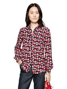NWT Kate Spade Magnolia Collection Petit four Silk Cupcake Print Shirt/Blouse   eBay