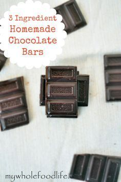 Homemade Chocolate Bars: 1/4 cup coconut oil + 1/4 cup cocoa or cacao + 2-3tbs maple syrup or honey