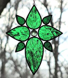Stained Glass Cross Green Leaves Glass Gem by LivingGlassArt, $40.00
