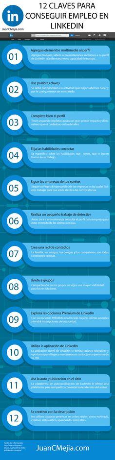 12 claves para conseguir empleo en LinkedIn. Infografía en español. #CommunityManager
