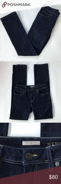 Burberry Brit Stretfield Straight Leg Jeans Sz 29R Burberry Brit Stretfield Straight Leg Jeans. Dark wash, Sz 29 R. Waist is 15 in, rise is 9 in, Inseam is 32 in. *please see measurements* these jeans are slim and run a bit smaller than the same size in other brands.  Great condition, gently worn no major flaws. Will be happy to answer any questions! Burberry Jeans Straight Leg