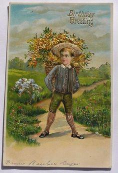 Cute Boy w/ Basket of Beautiful Yellow Flowers Gold detail Birthday pc c1910 | eBay