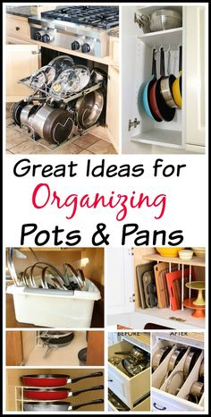 Get your kitchen organized with these awesome ideas for organizing pots and pans! Tired of all your disorganized pots and pans? Get you kitchen organized easily with these 10 awesome tips for organizing pots and pans! They're so easy to implement!