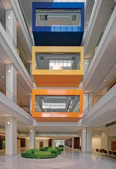Conference #rooms cantilever out into the #atrium. #design #architecture