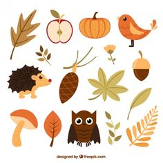 More than a million free vectors, PSD, photos and free icons. Exclusive freebies and all graphic resources that you need for your projects Autumn Doodles, Fall Clip Art, Autumn Illustration, Hello Autumn, Printable Stickers, Fall Diy, Happy Fall, Illustrations, Fall Crafts