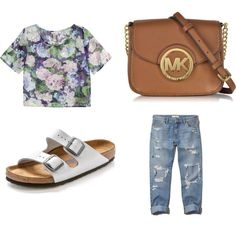 A fashion look from March 2015 featuring print crop tops, distressed denim jeans and flat t-strap sandals. Browse and shop related looks. Distressed Denim Jeans, Jeans And Flats, T Strap Sandals, Abercrombie Fitch, Birkenstock, Michael Kors, Fashion Looks, Crop Tops, Polyvore