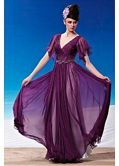 In Stock Fashionable A-line V-neck Full Length Purple Beaded Formal Dress