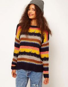Multi Long Sleeve Striped Loose Pullovers Sweater - Sheinside.com