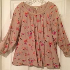 Soft Floral Peasant Top EUC - loose and flowy blush color with shades of pink and peach blossoms - 100% rayon Sonoma Tops Blouses